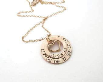 Personalized Coordinates Necklace with Heart - Custom Longitude Latitude Jewelry - Personalized Jewelry - Anniversary - Wedding - Family