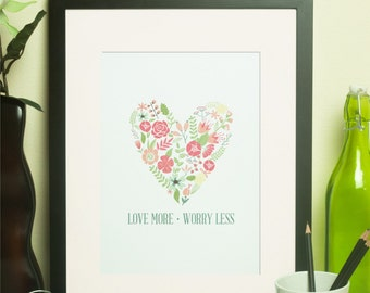Custom Home Decor- Love More Worry Less with or without Border Wall Art