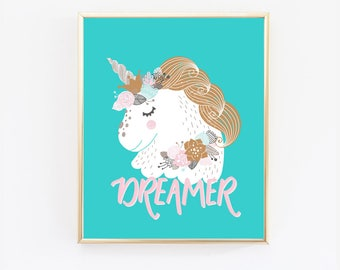 Unicorn Print, Dreamer, Unicorn Nursery, Unicorn Wall Art, Unicorn Room Decor, Teal and Copper (1026)