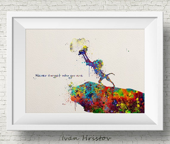 The Lion King Rafiki and Simba Watercolor Art Print Wall Art