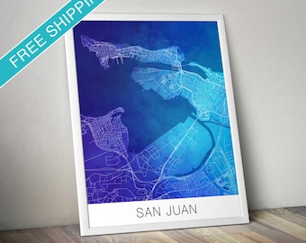 San Juan Map Print - Map Art Poster with Watercolor Background