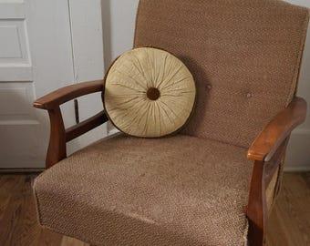 Vintage Velvet Round Tufted Throw Pillow Cinnamon and Cream
