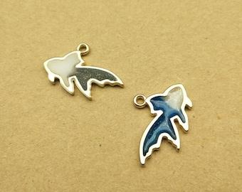 Goldfish Charm, 10PCS, 15*25MM, Enamel Charm, Fish Charm, Metal Charm, Jewelry Supplies, DIY Findings