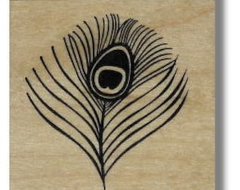 Peacock Eye Feather, small, Mounted rubber stamp, wedding, bridal shower, fantasy, Sweet Grass Stamps No.20