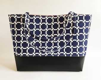 Big Boy Commuter Tote, Computer Bag, Work Bag, Tote, Over sized Tote bag,Carry All,Diaper Bag, Fabric Tote, Navy Knot