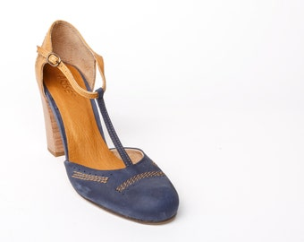 Leather high heel SHOES mary janes, leather women's SHOES, camel and blue womens SHOES, womens heels, blue mary janes, new leather shoes