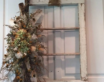 Old Window Frame Salvage / Farmhouse Style Window / White Chippy Window Hanging / Dried Floral Decor / Dried Wall Hanging