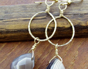 The Earthy Gold Rings & Faceted Agate Earrings