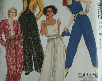 Misses Lined jacket and Jumpsuits Sizes 14-16-18 EASY McCalls Pattern 5662 Cut-To-Fit Petite-Able  UNCUT Pattern 1991