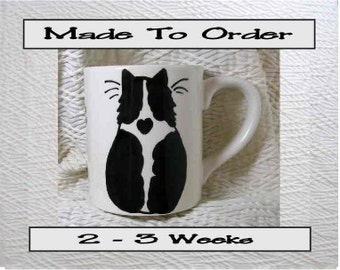 Black & White Cat Mug Original Handmade To Order With Paws On Back by GMS