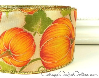 "Fall Wired Ribbon, 2 1/2"", Orange Pumpkins, Gold Glitter - THREE YARDS -  Offray ""Pumpkin Patch""  Thanksgiving Craft Wire Edged Ribbon"