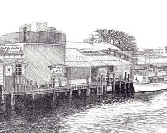 Kelly's Fish House Naples fl, Naples ink drawing, seaside art. Naples fl art. Naples seaside art, Florida beach art,Naples  prints,