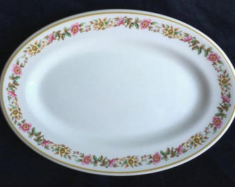 """Shenango Ivory Wild Roses Diner Hotel Restaurant China 11-1/2"""" Platter in Excellent Lightly-Used Condition"""