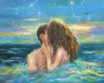 Girl in Sea Art Print, couple kissing in water, aqua, sexy lovers, beach decor, love, teal wall art, skinny dipping, romantic wall art
