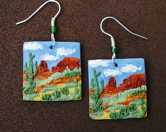 Polymer clay prairie landscape earrings