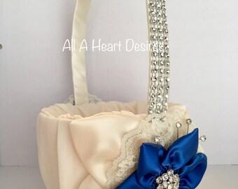 Ivory Flower Girl Basket,  Bridesmaid Basket, Royal Blue Star Flower, Ivory Leaves and lace, Rhinestone Mesh handle, Wedding Flower Basket