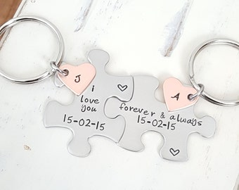 puzzle piece key chains anniversary gift hand stamped his and hers i love you forever & always stainless steel anniversary boyfriend gift