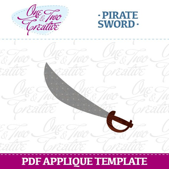 Items Similar To Pirate Sword Fabric APPLIQUE TEMPLATE Only PDF