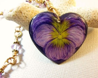 Purple Pansy Pendant, Hand Painted Purple Pansy Necklace, Vintage Gold Color Heart Resin Jewelry, Amethyst and Violet Colored Crystals