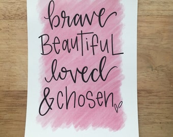 Brave Beautiful Watercolor Print
