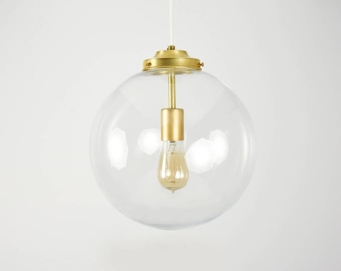 Raw Brass Modern Pendant Lighting Gold  with Clear Glass Globe - Cloth Wire -  Kitchen Island