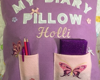 Personalised diary pillow / cushion. Gift for girl. Christmas gift. Gift for her.