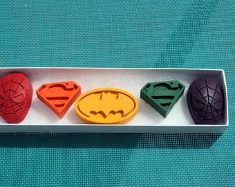 Super Hero Crayons - Stocking stuffer for kids -  Super Hero Party Favors - Classroom Crayons - Crayons for kids - Kid Unique Party Favor
