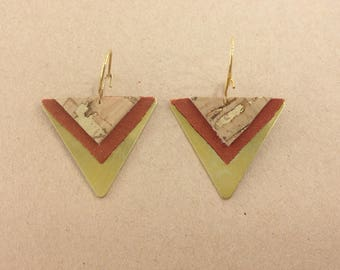 Pierced ears-whether-ethnic-triangle-leather Cork fabric