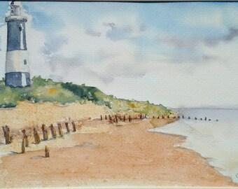 Spurn point art original watercolour painting landscape art, an original watercolour painting of Spurn Point Lighthouse