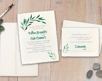 Custom Wedding Invitations - Natural - Deckled Edge - Green Leaves - Set of 25