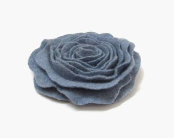 Flower Pin Cashmere Felted Wool Rose Brooch Chambray Blue Recycled Wool Flower Pin