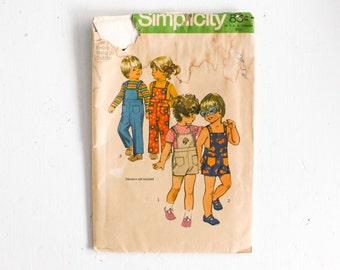 Size 2: Vintage 1970s Simplicity 9949 Sewing Pattern, Toddler's Overalls in Two Lengths, Romper, Sunsuit