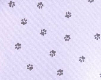Dog paws print cotton pique fabric price is for 50 cm