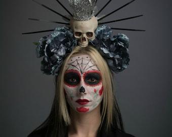 Virgin Mary Halo Day of the Dead Headdress Lady Guadalupe Dark Blue Flower Crown Skull Dia de los Muertos Headpiece Gothic Sacred Headwear