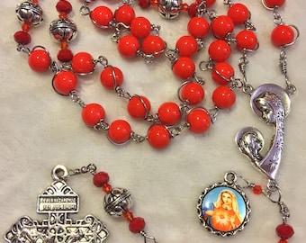 Unbreakable Rosary - sacred Heart of Mary catholic rosary - red beads rosary - Handmade