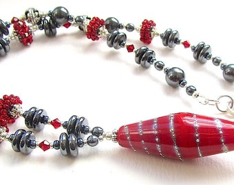 Red Spiral Lampwork Pendant Necklace with Beaded Beads, Crystals, Haematite, and Silver