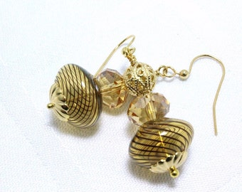 Amber Blown Glass and Crystal Earrings