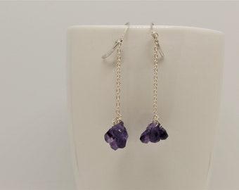 Amethyst earrings, 925, sterling silver earrings, dangle drop earrings, purple