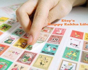 Paper Deco Sticker Set - Vintage Style - Francoise Stamp Stickers - 4 Sheets