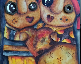 """Painting """"A la Folie"""" couple in love: mixed media"""