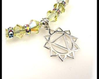Solar Plexus Chakra yellow crystal charm bracelet, chakra bracelets, yellow jewelry, chakra colors jewelry, solar plexus chakra charms