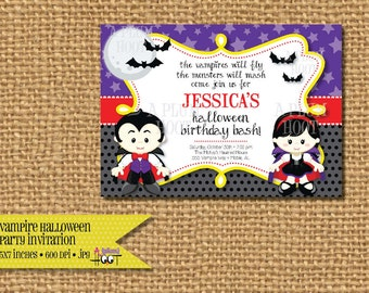 Vampire Halloween Party Invitation. (5x7 Printable) Can be customized to any type of party.