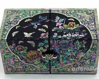 Mother of Pearl Inlaid Wood Secret Keepsake Treasure Jewelry Box Storage Nacre Ring Earring Chest Trinket Case Korean Mother Girl Gift