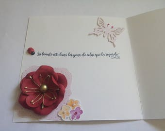 Just a few words and 3D flower folded card