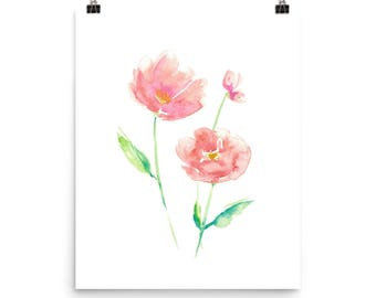 Pink Watercolor Floral, Poppy Painting, Blush Pink, Pink Nursery, Pink Poppies, Pink Flowers, Floral Wall Art, Poppy Art, Girl Nursery