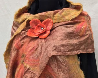 Felted Scarf, Nuno Felted Scarf, Silk and Merino Wool Scarf, brown silk scarf