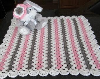 baby girl gift set crochet baby blanket with headband girls pink and gray blanket and headband READY TO SHIP