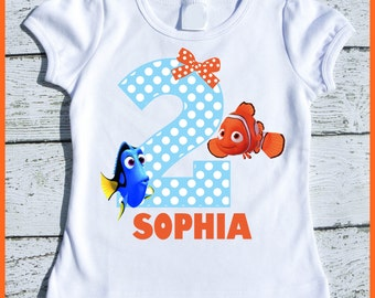 Custom Personalized Dory and Nemo Birthday tee shirt