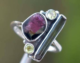 Pink Tourmaline & Peridot Ring-Designer 925 Solid Sterling Silver Watermelon Tourmaline ring-Handmade jewelry-Gift for her-Birthstone Ring
