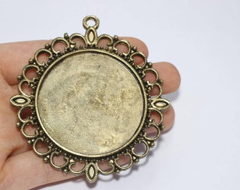 71mm Antique Gold Pendant Tray, Bezel Settings, Cabochon Settings,SKU/TR23